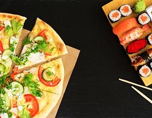 Устрой праздник дома! Все виды пиццы и суши со скидкой 50% с доставкой на дом от службы доставки SDFOOD!