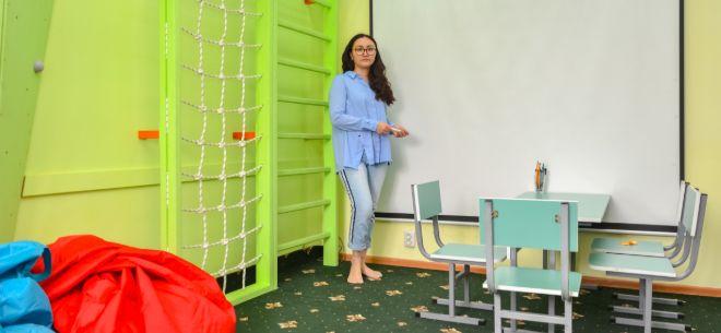 Mom in office, 2