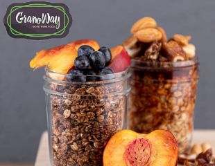 Полезные и здоровые завтраки от компании GranoWay! «Фундук в шоколаде», «Вишневый бум», «Клюквенный морс» и другие виды гранолы со скидкой 50%!